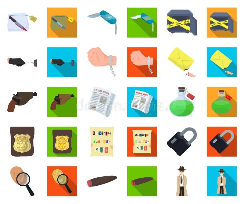 Tecknad film för detektiv- byrå, plana symboler i den fastställda samlingen för design Rengöringsduk för materiel för brott- och  vektor illustrationer