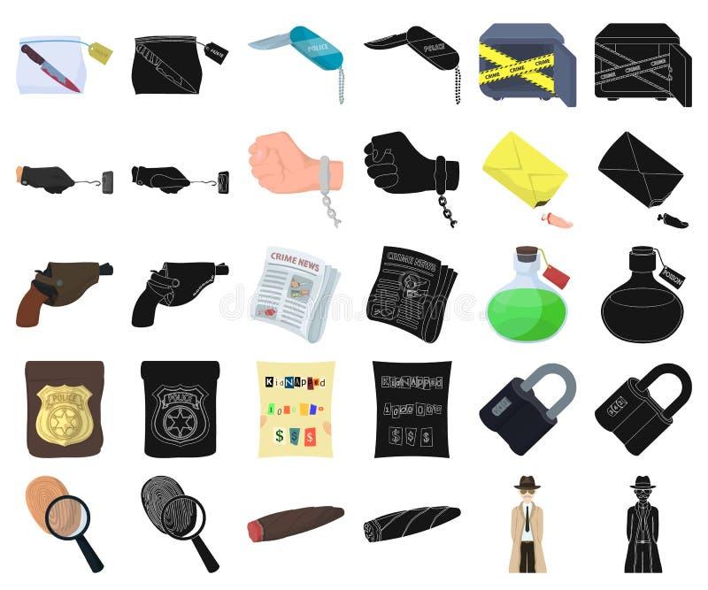 Tecknad film för detektiv- byrå, svarta symboler i den fastställda samlingen för design Rengöringsduk för materiel för brott- och royaltyfri illustrationer