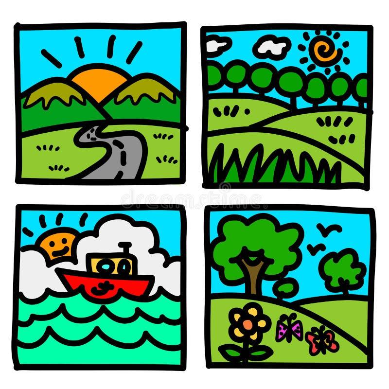 Tecknad film för draw för natursiktshand. stock illustrationer