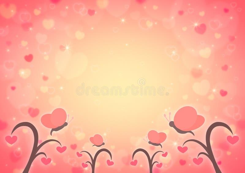 Tecknad film för fjärils- och förälskelsehjärtaträd på ljusröd hjärta bo för suddighet royaltyfri illustrationer