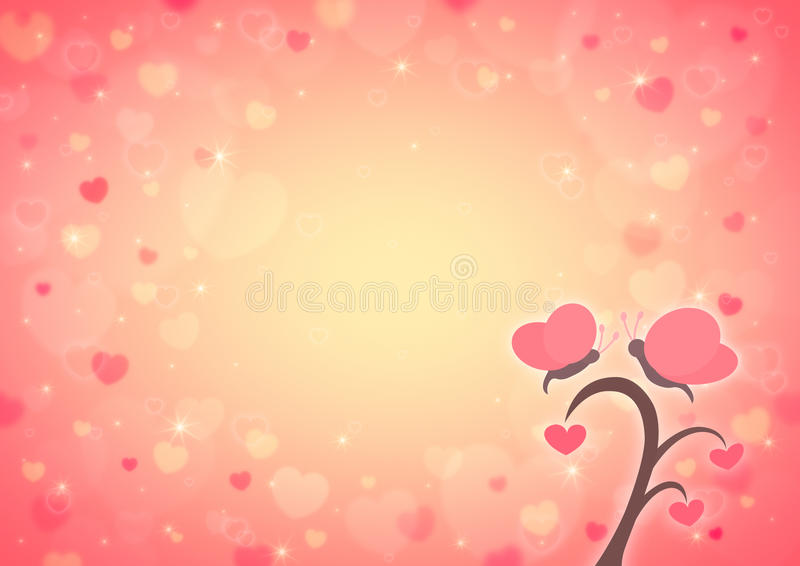 Tecknad film för fjärils- och förälskelsehjärtaträd på ljusröd hjärta bo för suddighet stock illustrationer