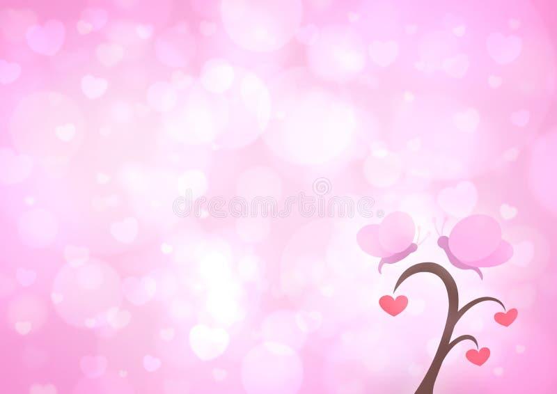 Tecknad film för fjärils- och förälskelsehjärtaträd på suddighetsljus - rosa hjärta b stock illustrationer