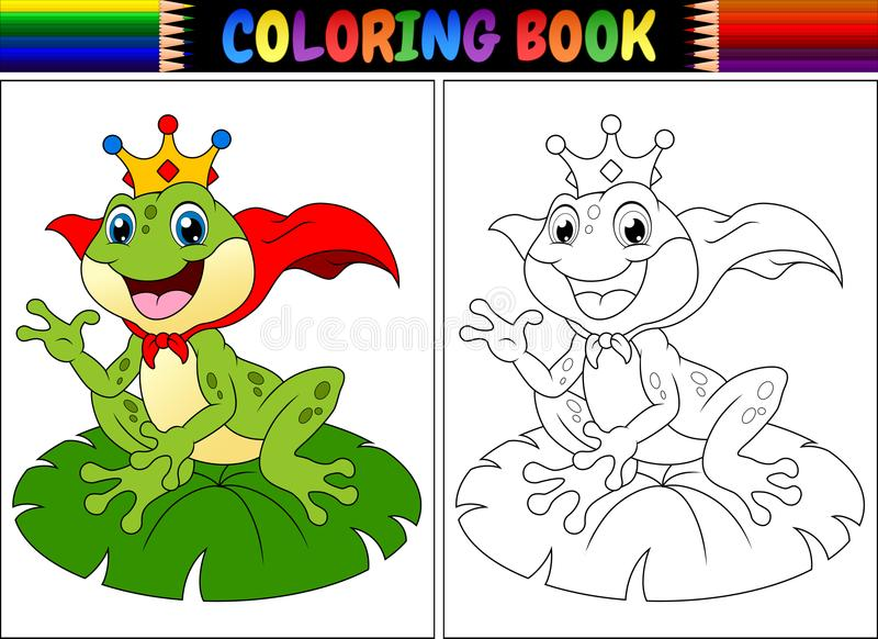 Tecknad film för groda för konung för färgläggningbok stock illustrationer