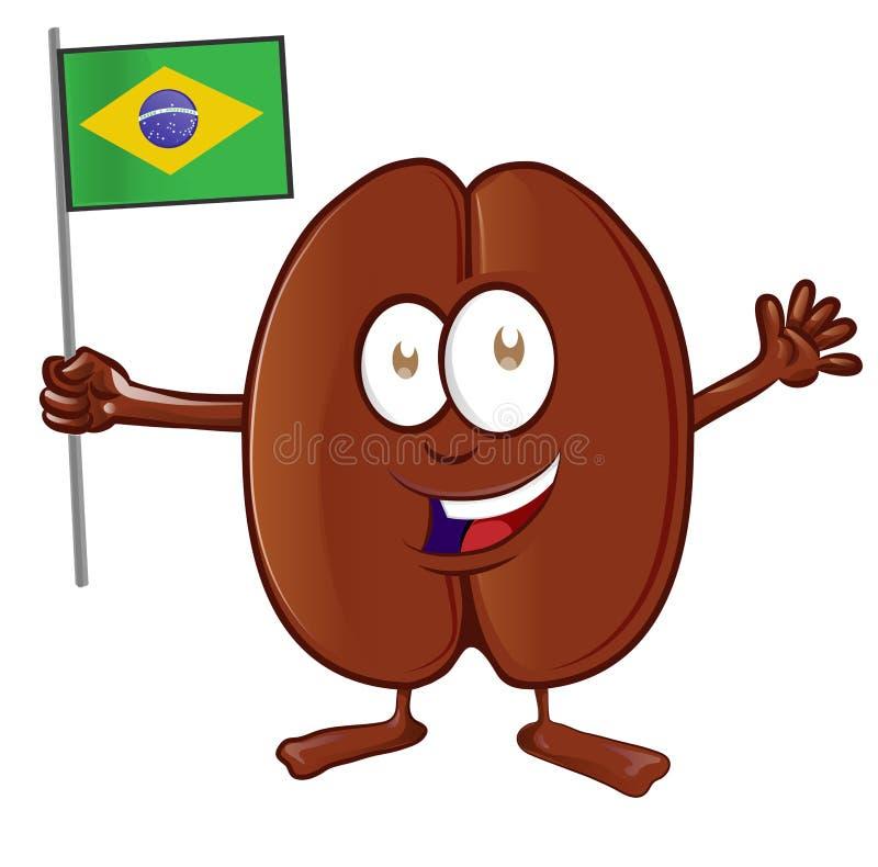 Tecknad film för kaffeböna med den brasilianska flaggan arkivfoton