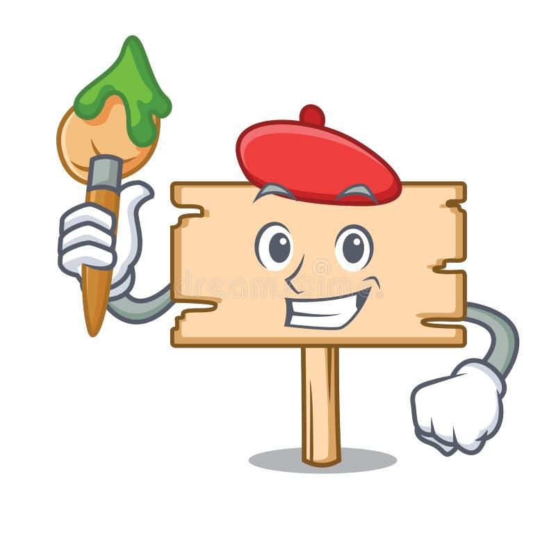 Tecknad film för konstnärträbrädetecken royaltyfri illustrationer