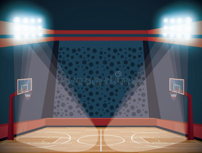 Tecknad film för landskap för stadion för basketdomstol royaltyfri illustrationer