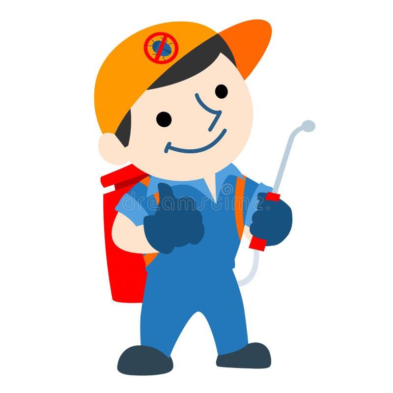 Tecknad film för logo för plågakontrollservice stock illustrationer