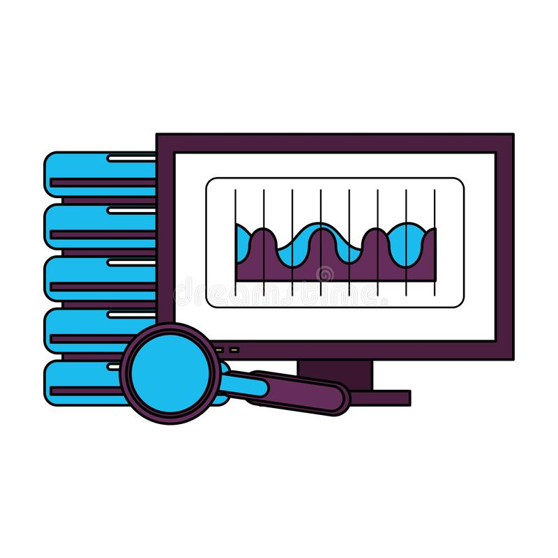 Tecknad film för maskinvara för teknologi för datorskärm stock illustrationer