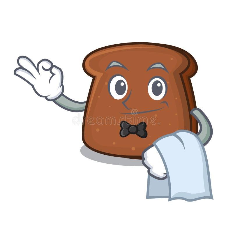 Tecknad film för maskot för brunt bröd för uppassare royaltyfri illustrationer