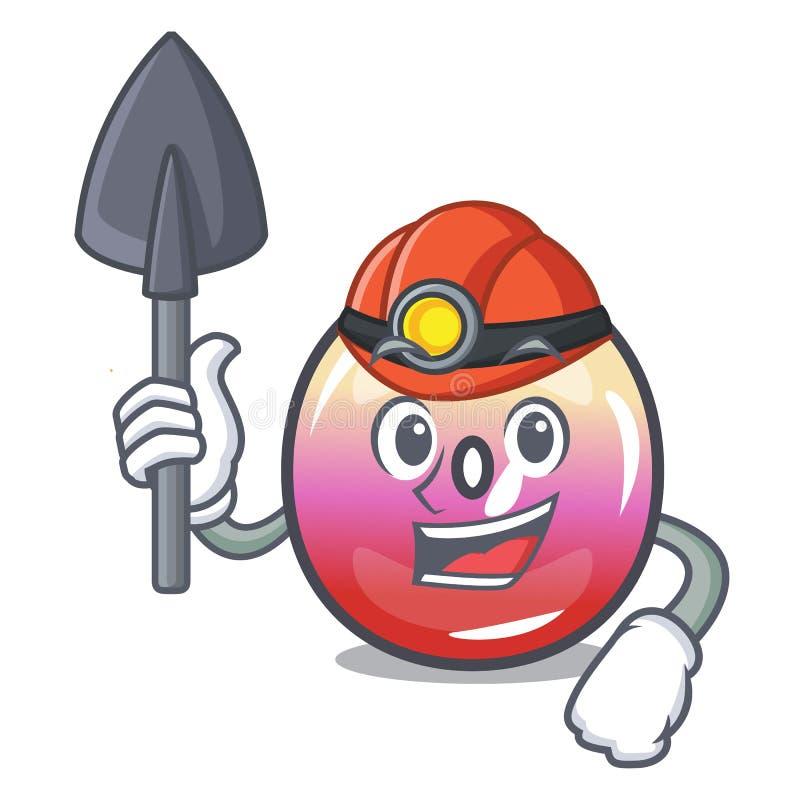 Tecknad film för maskot för godis för gruvarbetaregelécirkel stock illustrationer