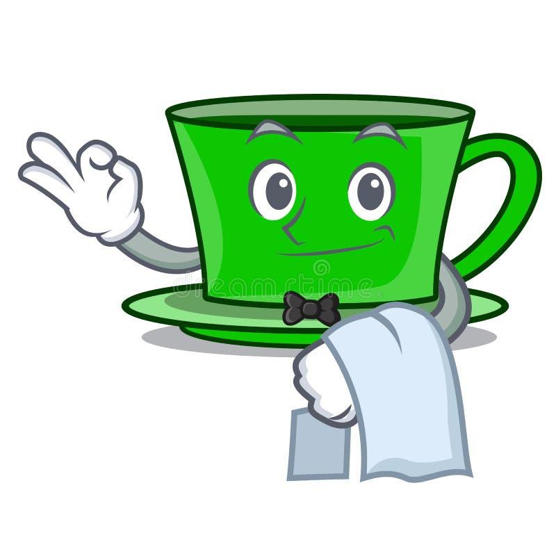 Tecknad film för maskot för grönt te för uppassare stock illustrationer