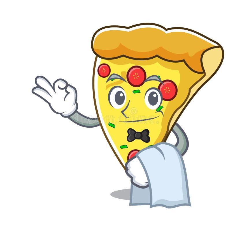 Tecknad film för maskot för uppassarepizzaskiva royaltyfri illustrationer