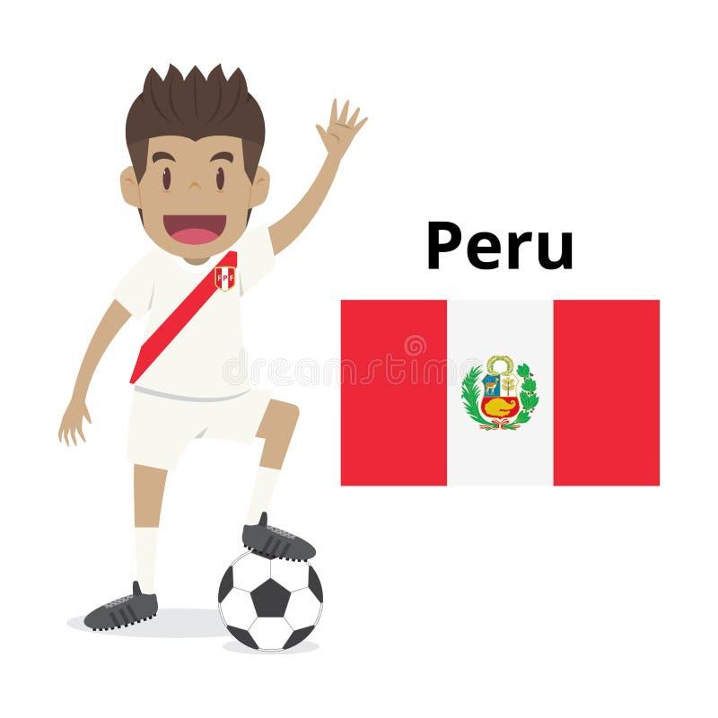 Tecknad film för Peru nationlag, fotbollvärld, landsflaggor socc 2018 vektor illustrationer