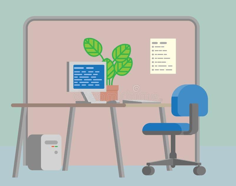 Tecknad film för plan bakgrund för kontorsskrivbord inre stock illustrationer