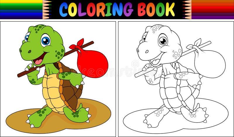 Tecknad film för sköldpadda för färgläggningbok stock illustrationer