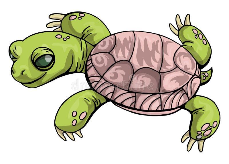 Tecknad film för sköldpadda för vektorillustration central asiatisk på isolerat i gröna och rosa färger på vit bakgrund Sköldpadd vektor illustrationer