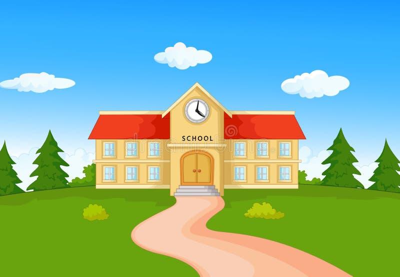 Tecknad film för skolabyggnad royaltyfri illustrationer