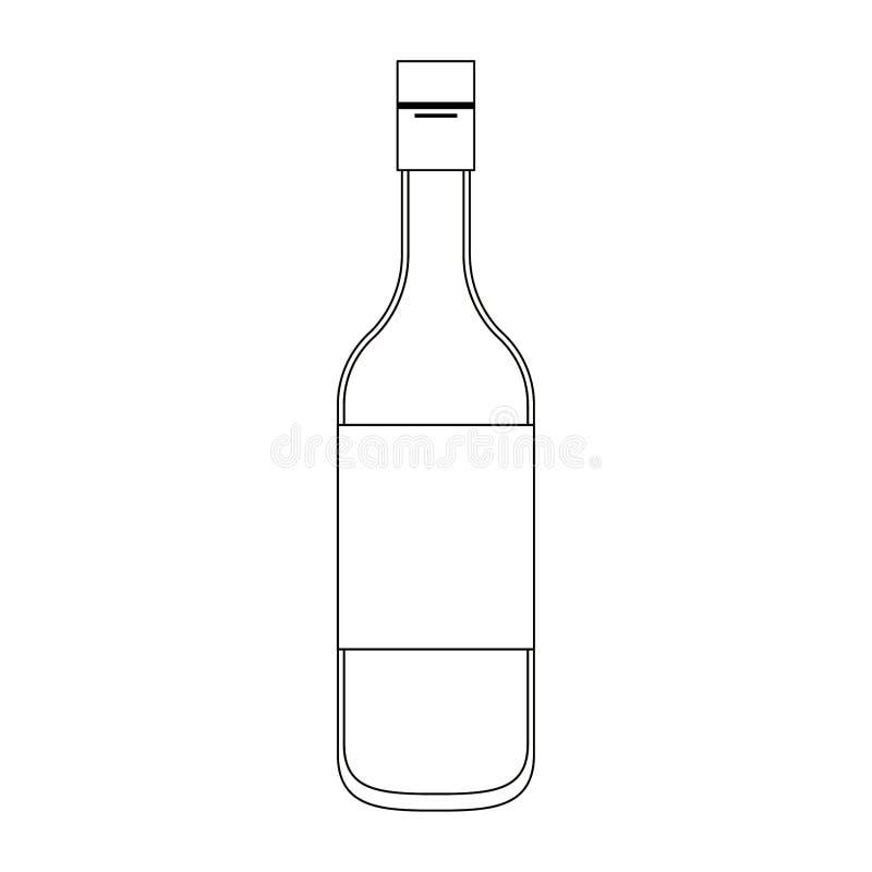 Tecknad film för symbol för vinflaska som isoleras i svartvitt royaltyfri illustrationer