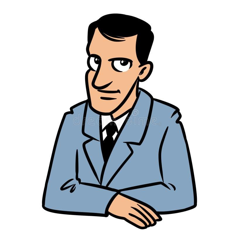 Tecknad film för tabell för stående för affärsmanbrunettleende sittande vektor illustrationer