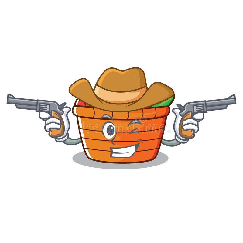 Tecknad film för tecken för cowboyfruktkorg vektor illustrationer