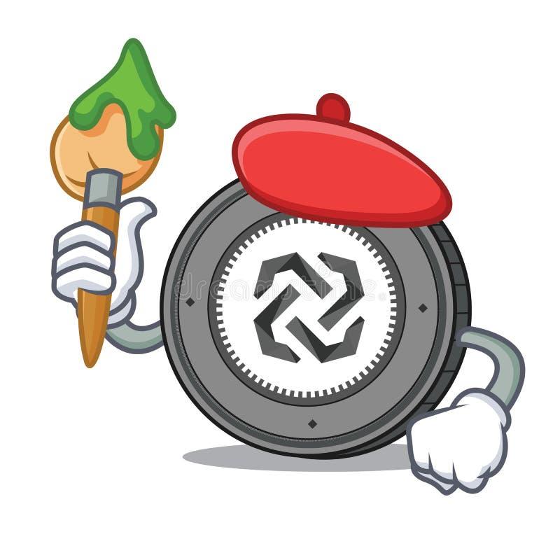 Tecknad film för tecken för konstnärBytom mynt royaltyfri illustrationer