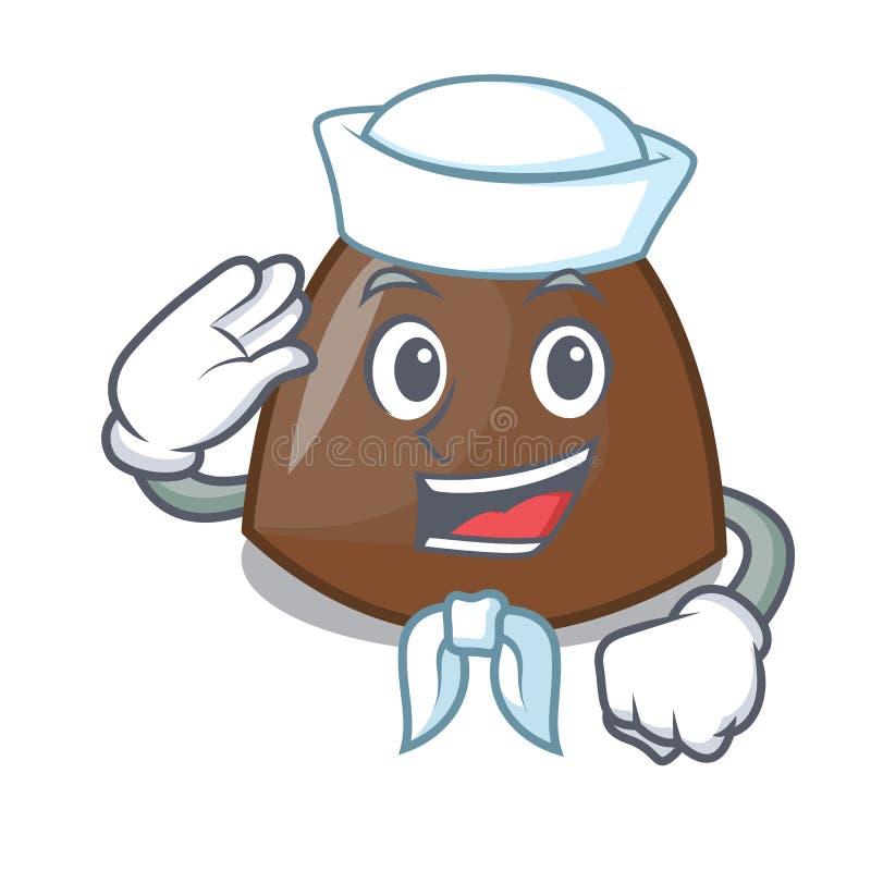 Tecknad film för tecken för sjömanchokladgodisar royaltyfri illustrationer