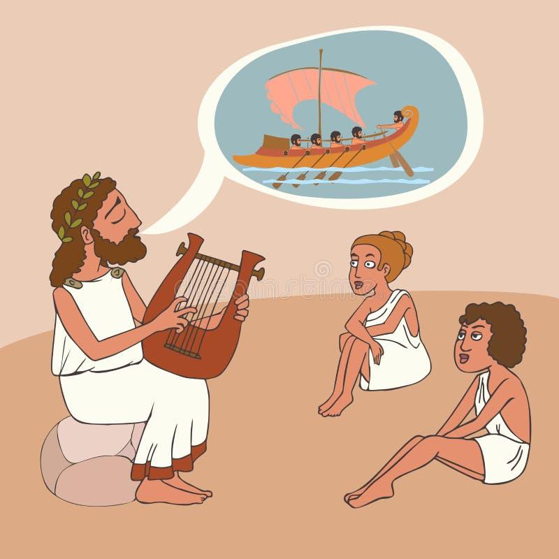 Tecknad film för tradition för berätta för gammalgrekiskaberättelse royaltyfri illustrationer