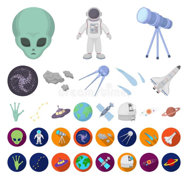 Tecknad film för utrymmeteknologi, plana symboler i den fastställda samlingen för design Rengöringsduk för materiel för rymdskepp royaltyfri illustrationer
