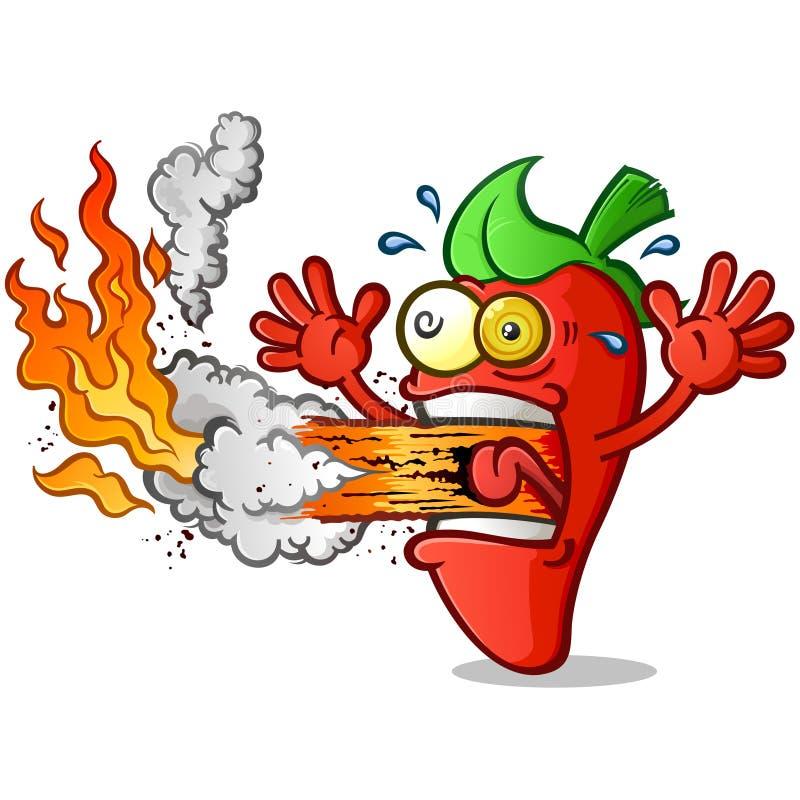 Tecknad film för varm peppar som ut får utbrott brand hans mun royaltyfri illustrationer