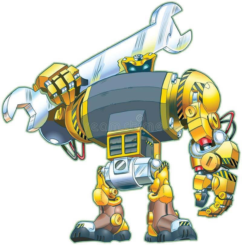 Tecknad film för vektor för robotinnehavskiftnyckel vektor illustrationer