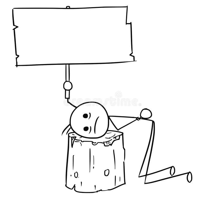Tecknad film för vektorpinneman av män med huvudet som förläggas på Executioen stock illustrationer