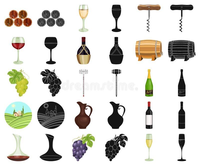 Tecknad film för vinprodukter, svarta symboler i den fastställda samlingen för design Utrustning och produktion av vinvektorsymbo royaltyfri illustrationer