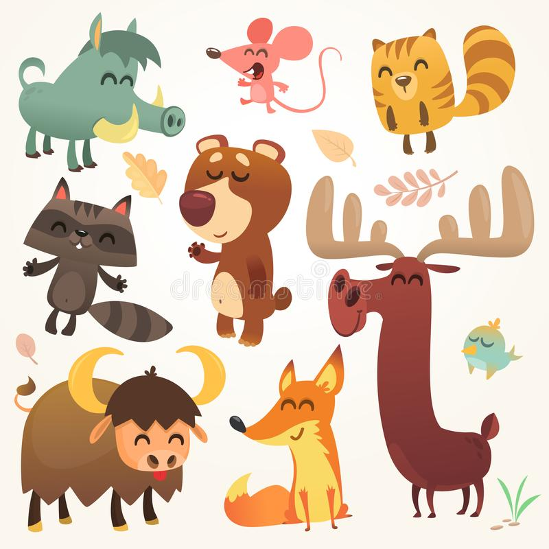 Tecknad film Forest Animals Set Illustrerad vektor Ekorre mus, tvättbjörn, galt, räv, buffel, björn, älg, fågel isolerat royaltyfri illustrationer