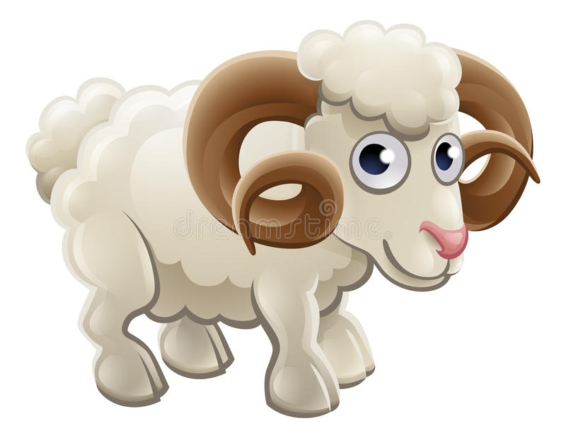 Tecknad film gulliga Ram Farm Animal vektor illustrationer