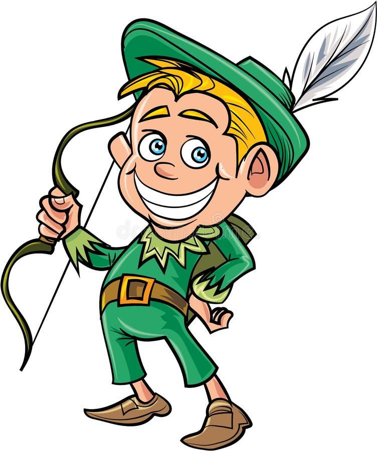 Tecknad film gulliga Robin Hood royaltyfri illustrationer