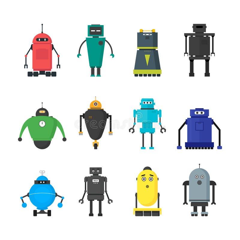 Tecknad film gulliga Toy Robots Color Icons Set vektor royaltyfri illustrationer