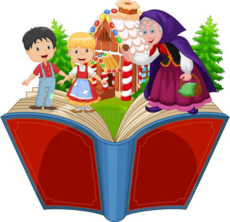 Tecknad film Hansel och Gretel royaltyfri illustrationer