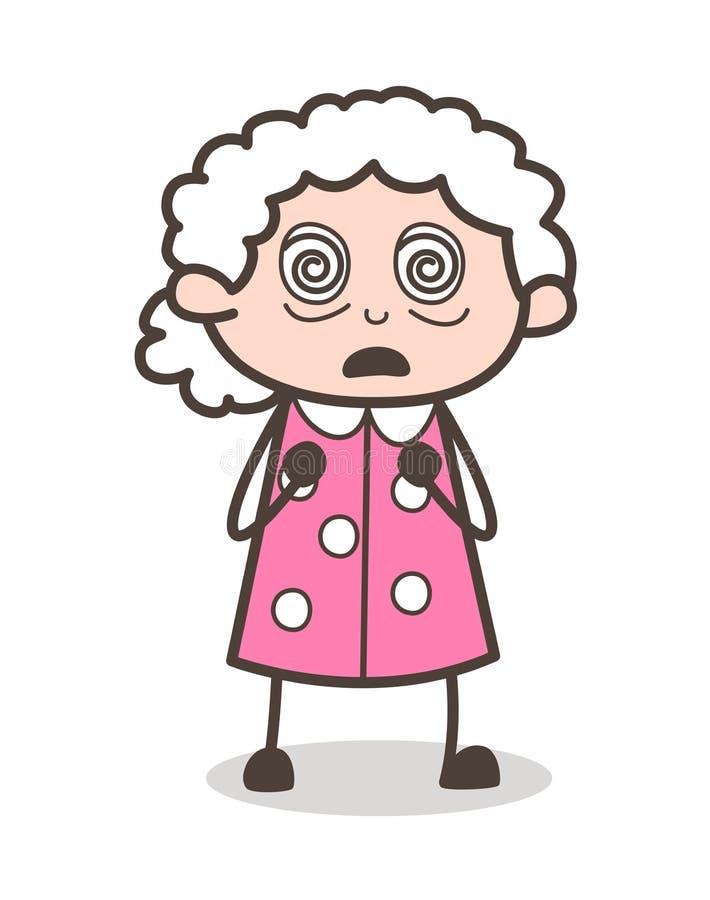 Tecknad film hypnotiserad för framsidauttryck för gammal kvinna illustration för vektor stock illustrationer