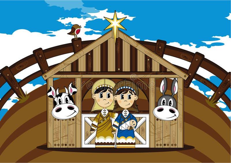 Tecknad film Joseph och Mary stock illustrationer