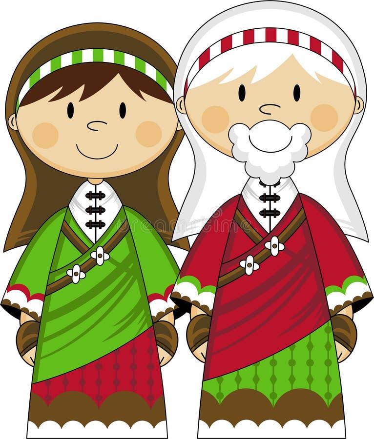 Tecknad film jungfruliga Mary och Joseph royaltyfri illustrationer