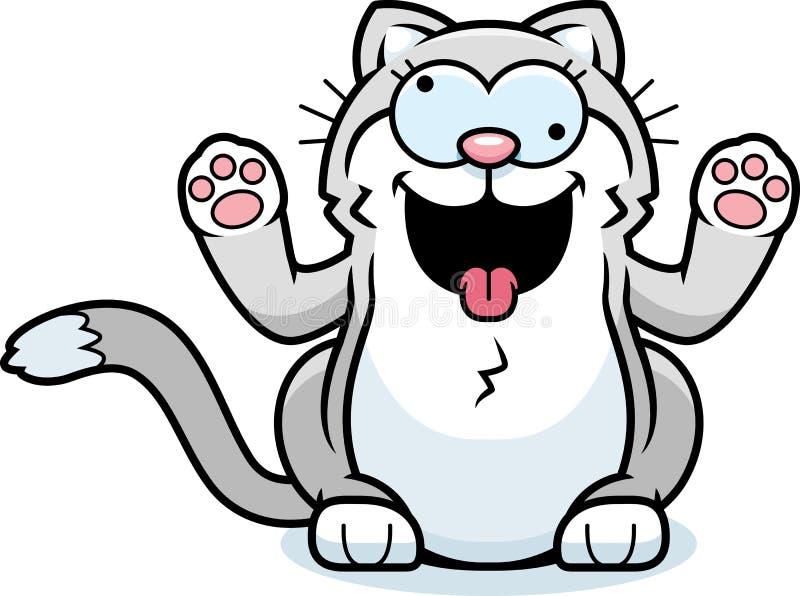 Tecknad film lilla Cat Crazy royaltyfri illustrationer