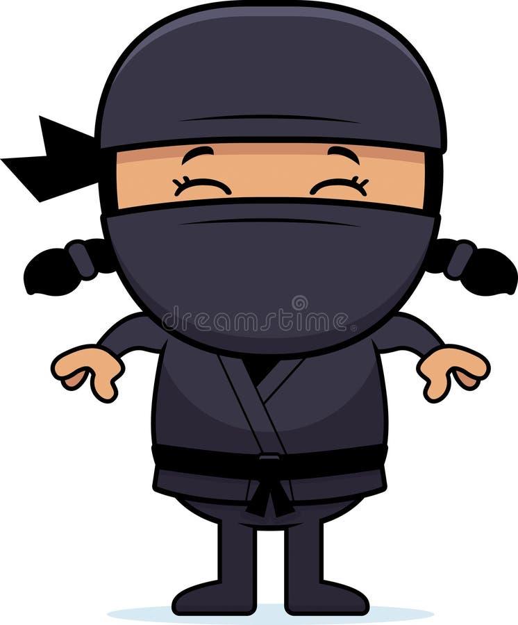 Tecknad film lilla Ninja vektor illustrationer