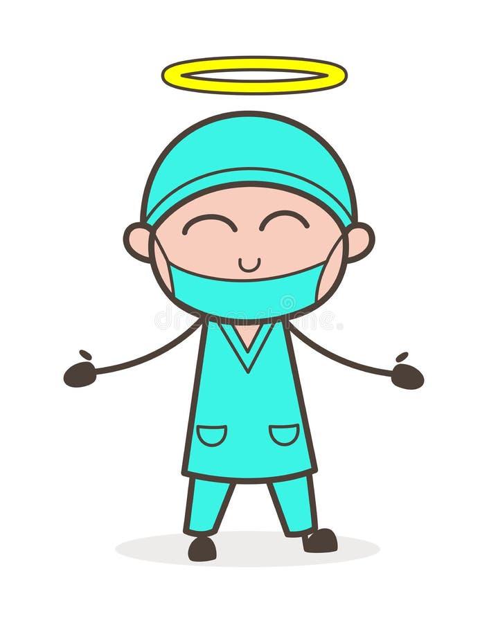 Tecknad film lyckliga bra Angel Doctor Vector Illustration stock illustrationer