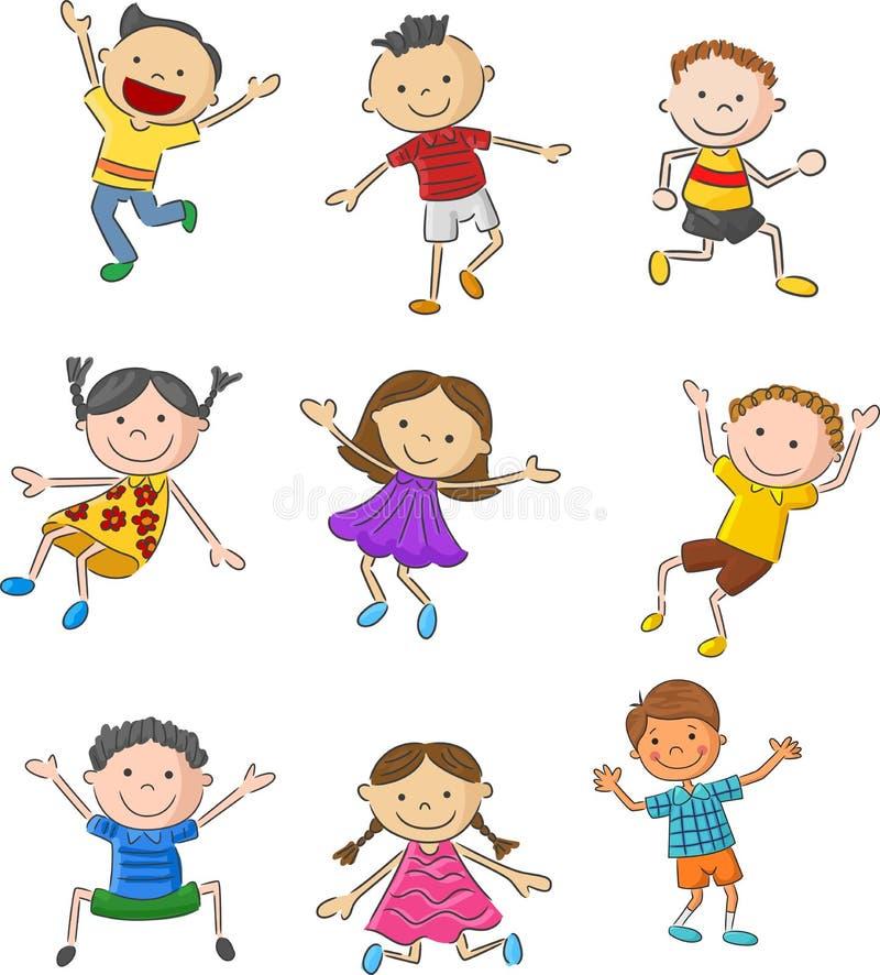 Tecknad film många lyckliga ungar som tillsammans hoppar och royaltyfri illustrationer