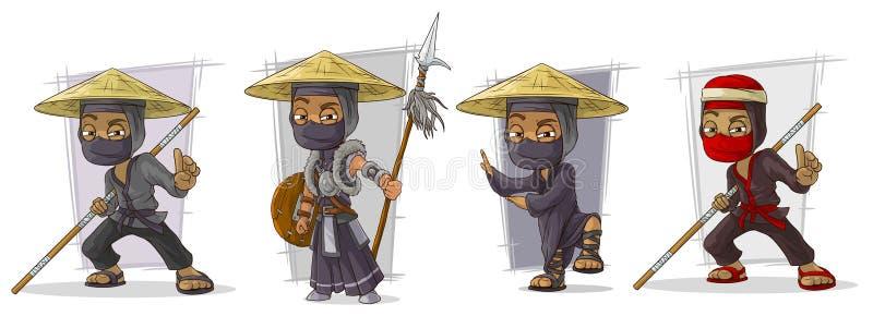 Tecknad film maskerad uppsättning för vektor för ninjakrigaretecken vektor illustrationer