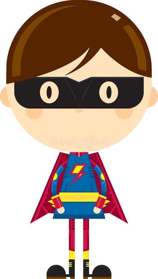 Tecknad film maskerat heroiskt Superherotecken stock illustrationer