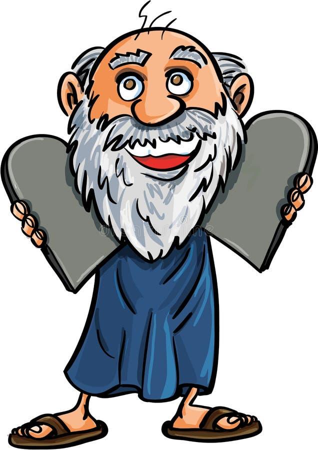 Tecknad film Moses med de tio buden vektor illustrationer