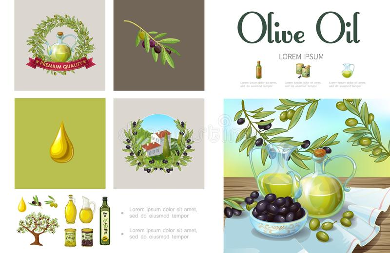 Tecknad film naturliga Olive Infographic Template vektor illustrationer