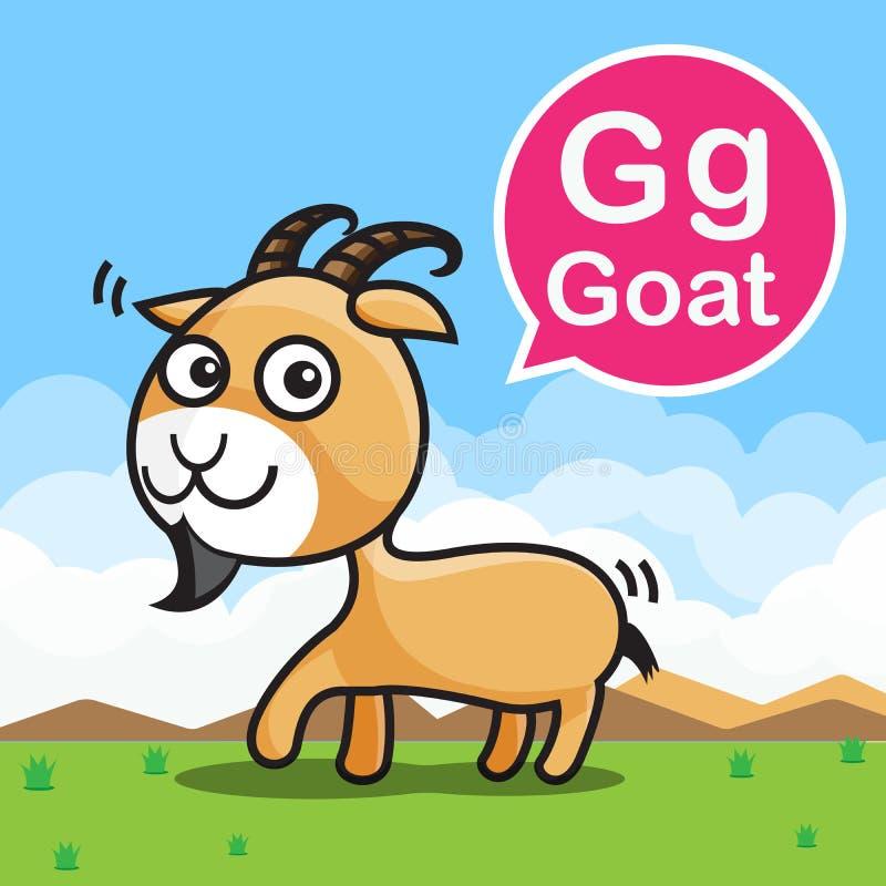 Tecknad film och alfabet för G-getfärg för barn till att lära vecto vektor illustrationer