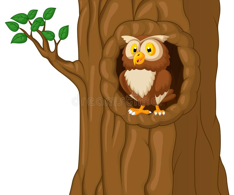 Tecknad film Owl In Tree stock illustrationer